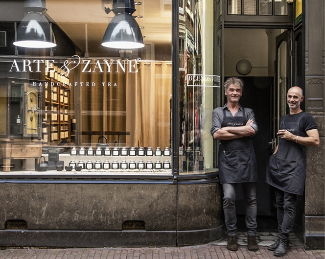 Arte and Zayne Outside Their Amsterdam Blend Store. Beautiful Handcrafted Organic Tea and Luxury Chocolates