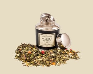 Es Vedra Sunset Is The Best Organic Tea from Arte and Zayne. Loose Leaf Tea With Herbs And Fruit Shown Here In Its Metal Canister Tea Container